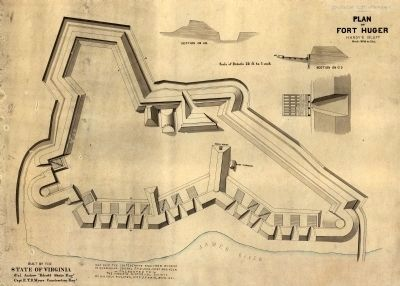 Plan of Fort Huger at Hardy's Bluff. image. Click for full size.