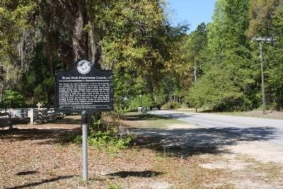 Bryan Neck Presbyterian Church Marker, looking west along Belfast-Keller Rd image. Click for full size.