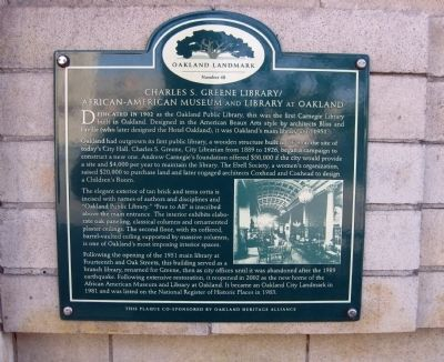 Charles S. Greene Library Marker image. Click for full size.