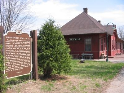 Elroy – Sparta State Trail Marker and Depot Photo, Click for full size
