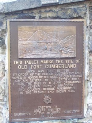 This Tablet Marks the Site of Old Fort Cumberland Marker Photo, Click for full size