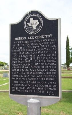 Robert Lee Cemetery Marker Photo, Click for full size