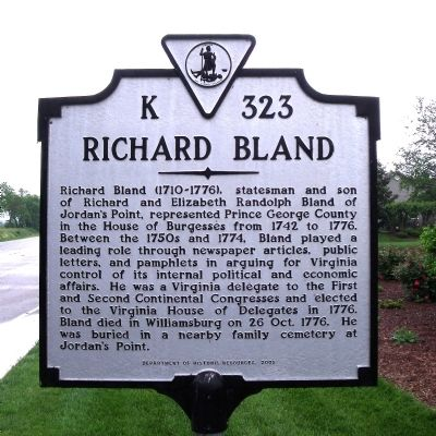 Richard Bland Marker Photo, Click for full size