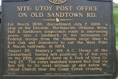 Utoy Post Office Marker image. Click for full size.