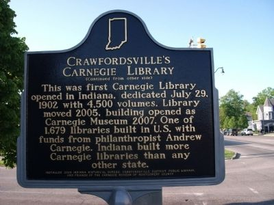 Side 2 - - Crawfordsville (Indiana) Carnegie Library Marker image. Click for full size.