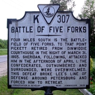 Battle of Five Forks Marker image. Click for full size.