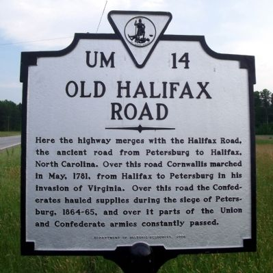 Old Halifax Road Marker Photo, Click for full size
