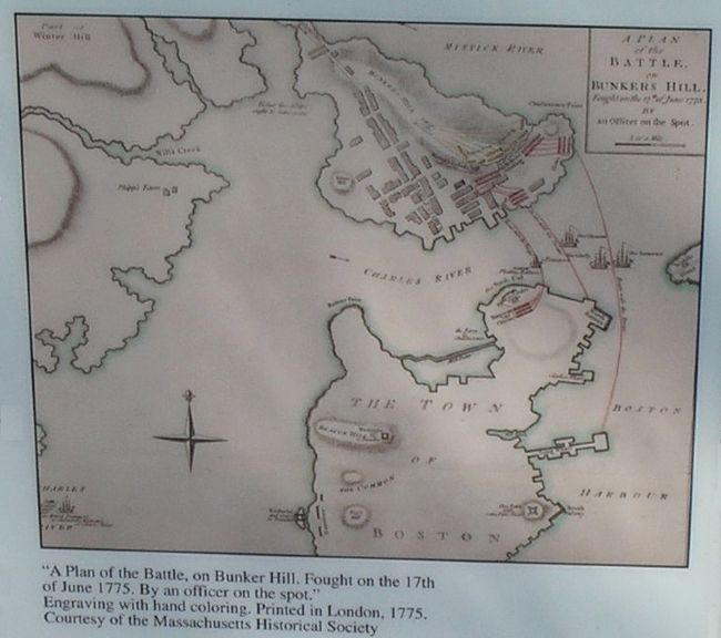 Battle of Bunker Hill Map from Marker Photo, Click for full size