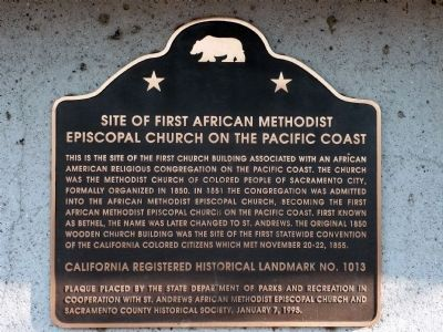 Site of First African Methodist Episcopal Church on the Pacific Coast Marker image. Click for more information.