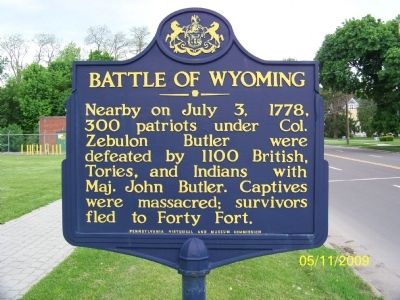 Battle of Wyoming Memorial Marker image. Click for full size.