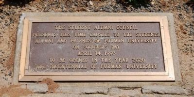Furman University Time Capsule -<br>West Side of Elizabeth Lyles Blackwell Fountain image. Click for full size.