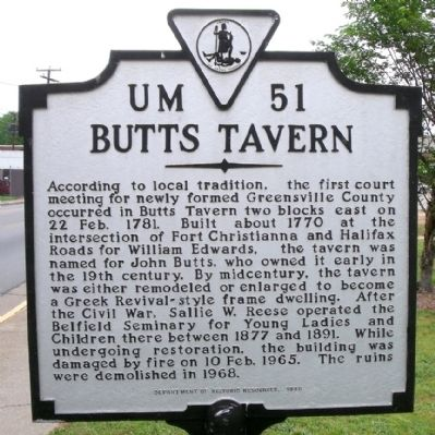 Butts Tavern Marker image. Click for full size.