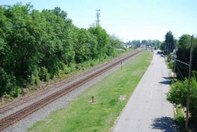 View off Overpass Looking East -<br>Railroad Bed and Moore Street image. Click for full size.