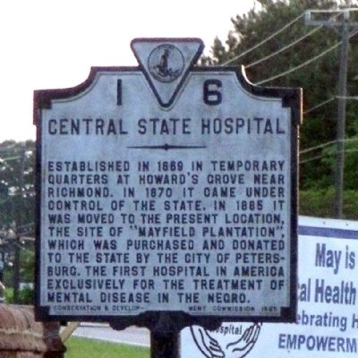 Central State Hospital Marker image. Click for full size.