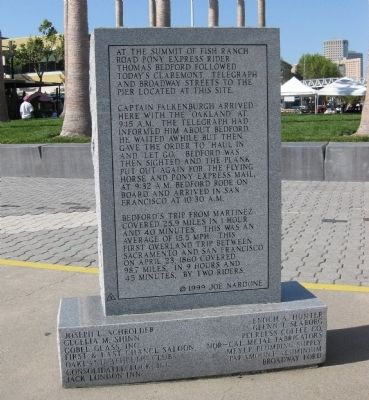 "Reverse Side of Pony Express Ferry ""Oakland"" Marker image. Click for full size."