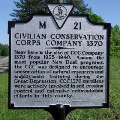 Civilian Conservation Corps Company 1370 Marker image. Click for full size.