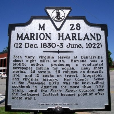 Marion Harland Marker Photo, Click for full size