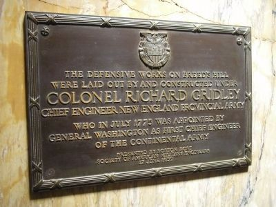 Colonel Richard Gridley Plaque image. Click for full size.
