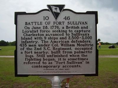 Battle of Fort Sullivan Marker - Side A image. Click for full size.