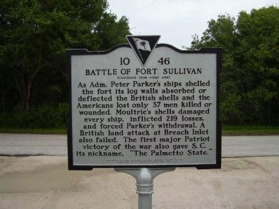 Battle of Fort Sullivan Marker - Side B image. Click for full size.