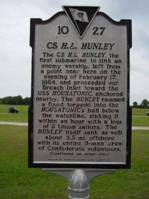CS <i>H.L. Hunley</i> Marker - Side A Photo, Click for full size