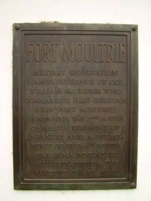 Fort Moultrie Marker Photo, Click for full size