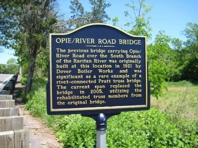 Opie River Road Bridge Marker image. Click for full size.