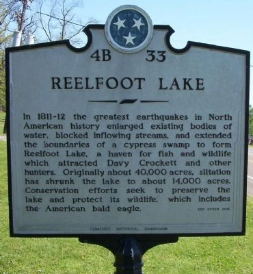 Reelfoot Lake Marker Photo, Click for full size