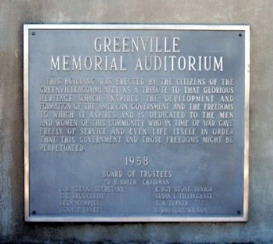 Greenville Memorial Auditorium Plaque Photo, Click for full size