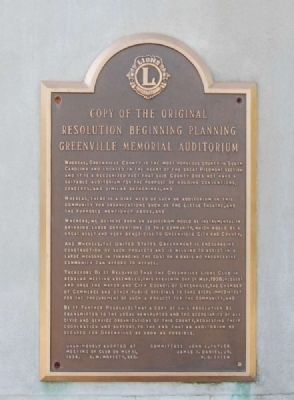 Greenville Memorial Auditorium Resolution Photo, Click for full size