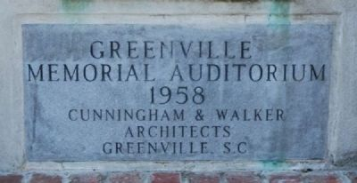 Greenville Memorial Auditorium Cornerstone Photo, Click for full size