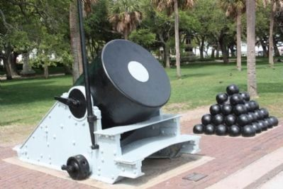 Thirteen - Inch Mortar Marker , another Mortar, with a duplicate marker Photo, Click for full size