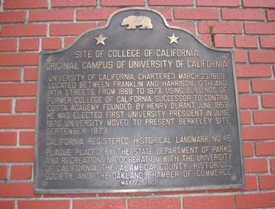 Site of College of California Marker image. Click for full size.