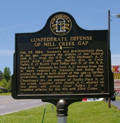 Confederate Defense of Mill Creek Gap Marker image. Click for full size.