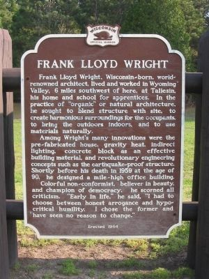 Frank Lloyd Wright Marker Photo, Click for full size