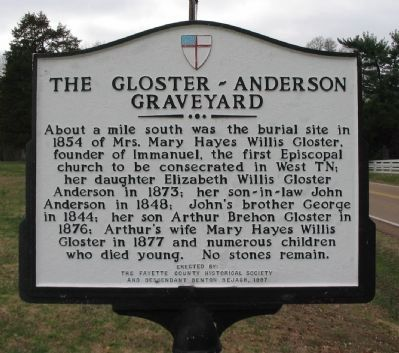 The Gloster - Anderson Graveyard Marker image. Click for full size.
