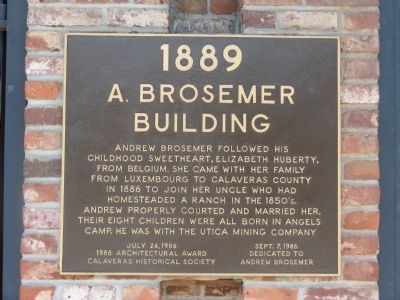 A. Brosemer Building Marker Photo, Click for full size