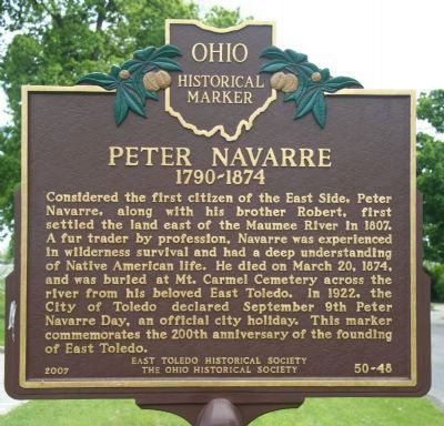 Front of Peter Navarre Marker image. Click for full size.