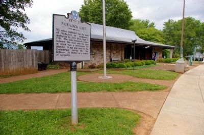 Nickajack Cave Marker and the Visitors' Center Photo, Click for full size