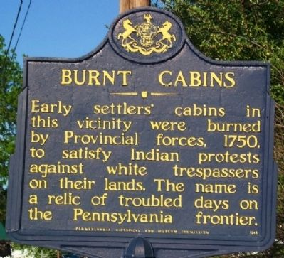 Burnt Cabins Marker Photo, Click for full size