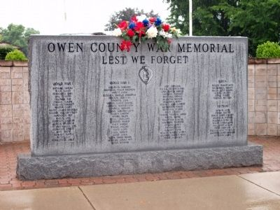 Owen County War Memorial Marker image. Click for full size.