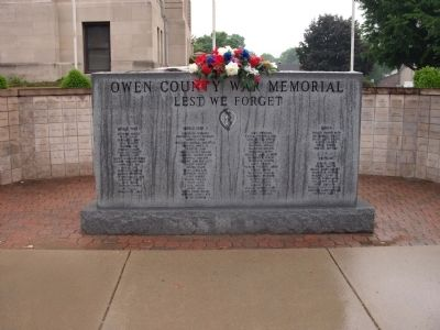 Full View - - Owen County War Memorial Marker image. Click for full size.