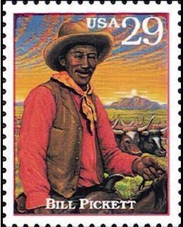 Bill Pickett Postage Stamp, ca. 1994 image. Click for more information.