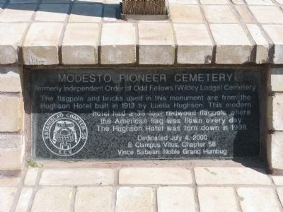 Modesto Pioneer Cemetery Marker image. Click for full size.