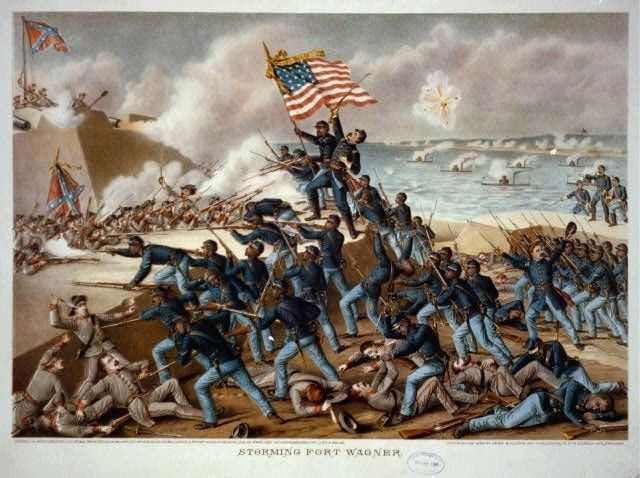 """The Storming of Fort Wagner"" - lithograph by Kurz & Allison, 1890 image. Click for full size."