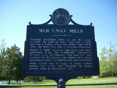 War Eagle Mills Marker Closeup image. Click for full size.
