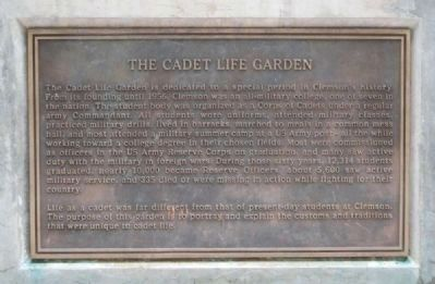 Cadet Life Garden Marker -<br>Located on the East Base of the Guardroom Bell Structure image. Click for full size.