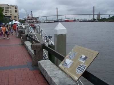 Savannah's Cobblestones Marker, seen waterside along the Riverwalk image. Click for full size.