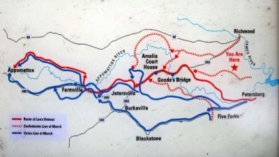 Route of Lee's Retreat and the Union pursuit. image. Click for full size.