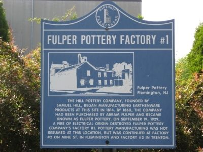 Fulper Pottery Factory #1 Marker Photo, Click for full size